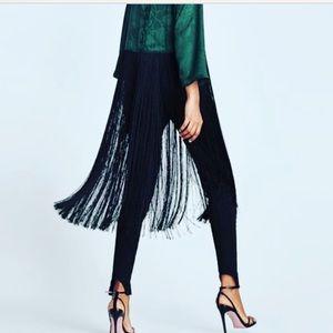 Green Zara fringe top